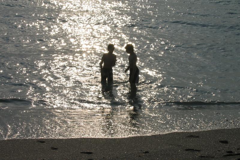 The boys, early morning beach