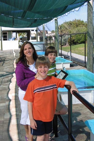 Elizabeth and the boys at Loggerhead Marinelife Center