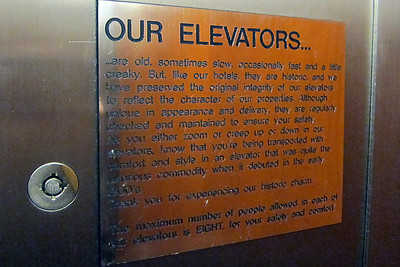 Sign inside elavator