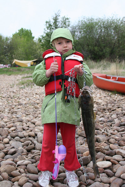 The smallest fisherman with the smallest fishing rod caught the largest fish.