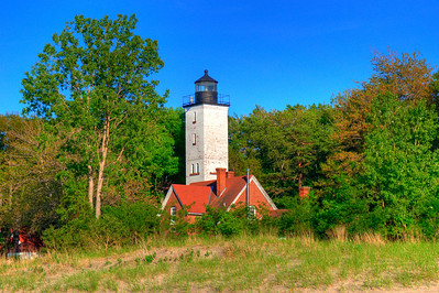 One of the two lighthouses on the Erie Presque Isle State Park.