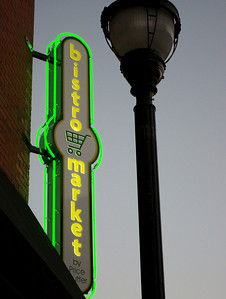 Bistro Market sign, downtown, Springfield, MO.