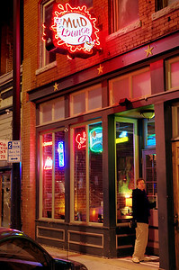 Rita entering the Mud Lounge, downtown Springfield, Missouri. One of our favorites.