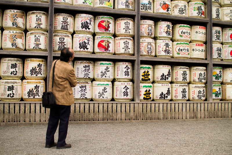 A man peruses the Hachiman-gu Shrine's collection of sake barrels.