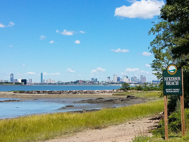 Nickerson Beach and Boston Skyline