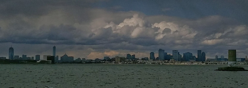 Ominous clouds over Boston. View of the skyline from Squantum.