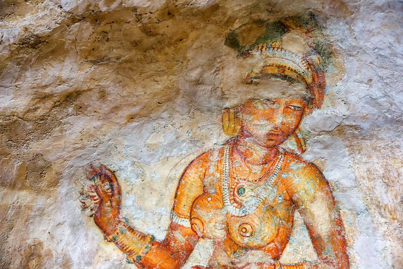 Sigiriya rock - murals dating back to 5th century AD