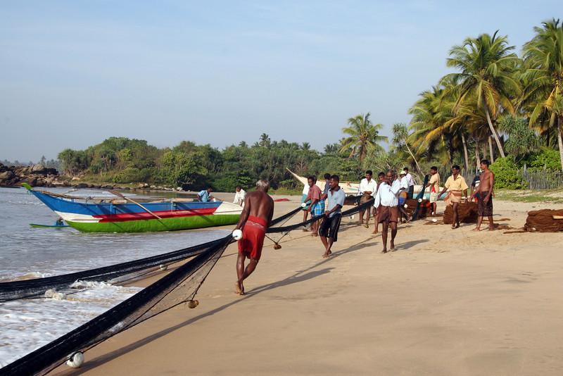Fishermen reeling in their catch