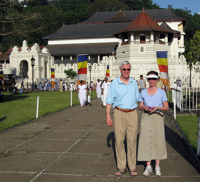 Craig and Jeane outside the Temple of the Sacred Tooth Relic