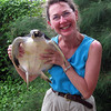 Jeane acting goofy with turtle