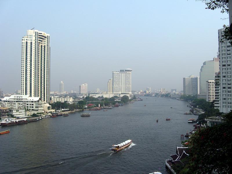 View of the Chao Phraya River from the Shangri-La Hotel, Bangkok on the way to Sri Lanka