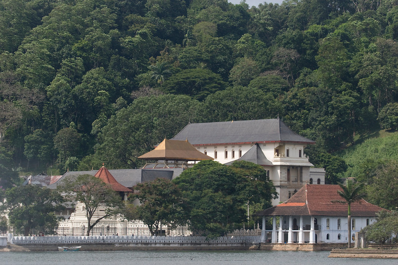 Looking at the Sacred Tooth temple across the lake in Kandy
