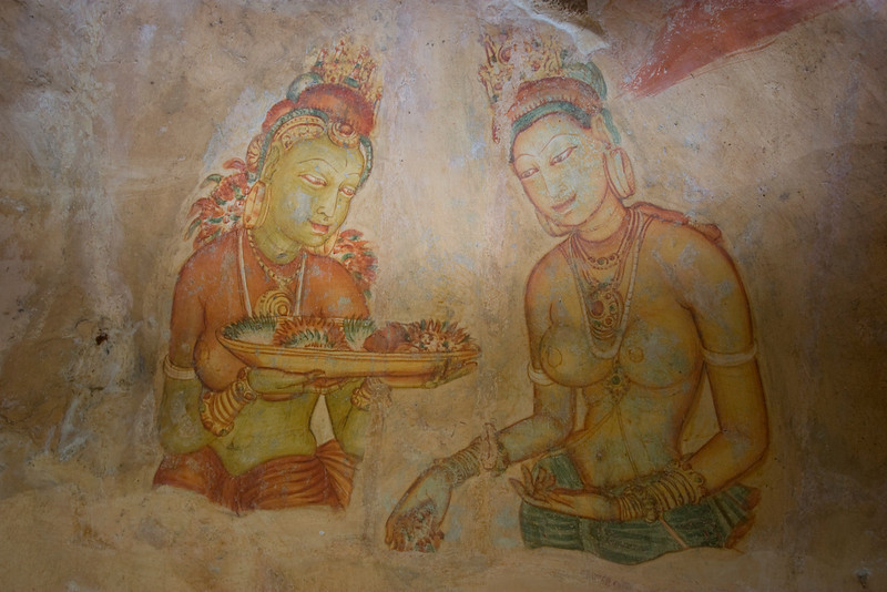 Frescoes in a cave on the face of Sigiriya rock