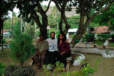 Suchit & Anu with our SRCM preceptor & Sri Lankan friend Mahen at the Golden Temple, Dambulla, Sri Lanka, July 2004