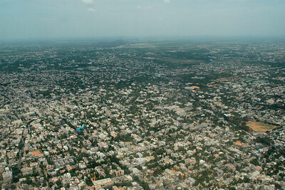 Ariel view of Chennai city when arriving from Mumbai enroute to Colombo then Kuala Lumpur, July 2004