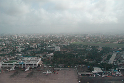 Ariel view of Mumbai city & international airport enroute to Chennai & Colombo then Kuala Lumpur, July 2004