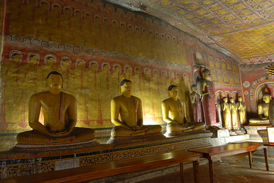Many Buddha statues at Dambulla Cave Temple, Sri Lanka. Dambulla cave temple also known as the Golden Temple of Dambulla is a UNESCO World Heritage Site, East of Colombo in Central Sri Lanka.