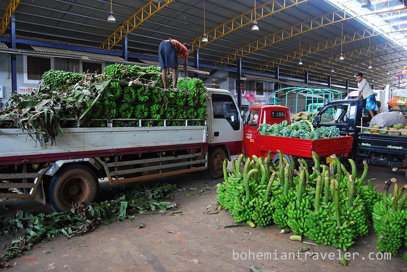 Unloading bananas at Dambulla wholesale market in Sri Lanka.