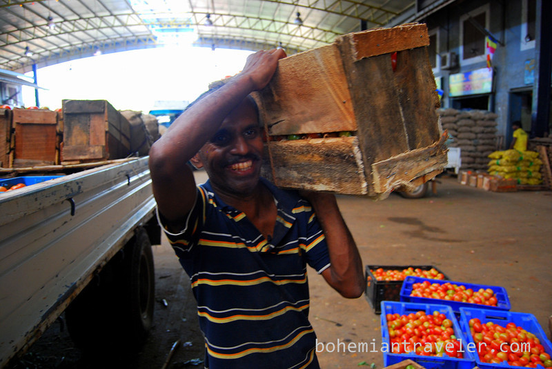 Carrying a crate of tomatoes at Dambulla wholesale market in Sri Lanka.