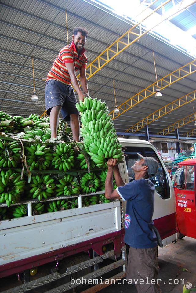 Men unload bananas at Dambulla wholesale market in Sri Lanka.