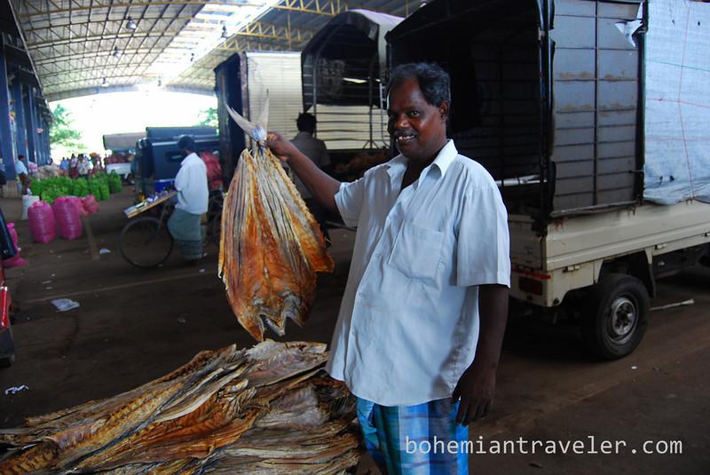 Fish being sold at Dambulla wholesale market in Sri Lanka.