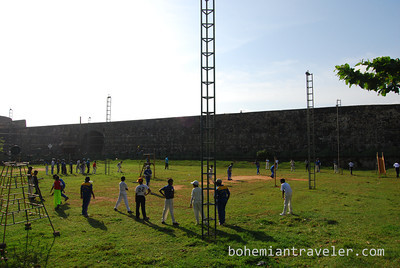 Playing cricket at Galle Fort
