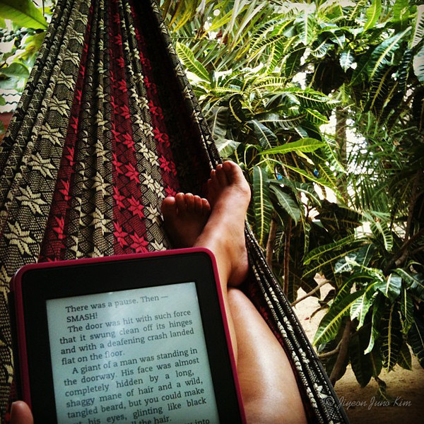 Reading my Kindle on a hammock