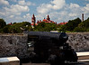 Cannon at Castillo de San Marcos looking toward Flagler College