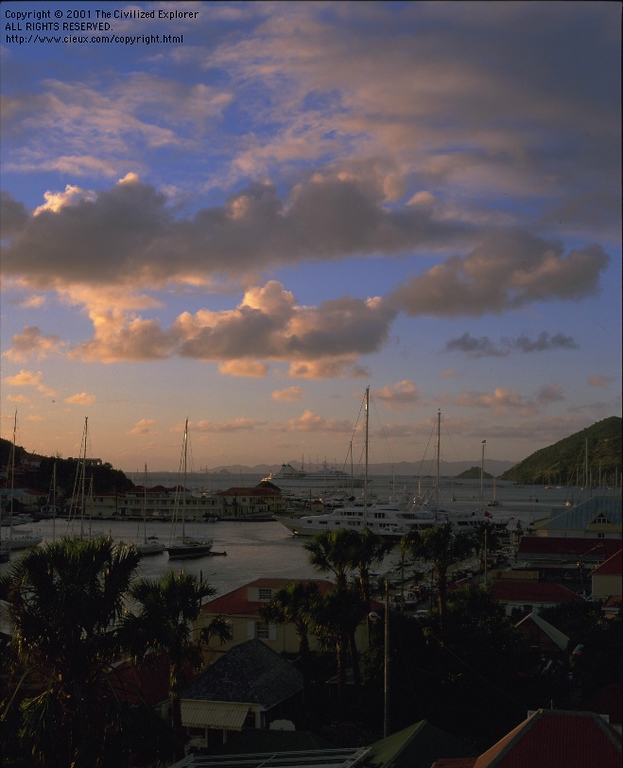Sunset from our hotel in Gustavia