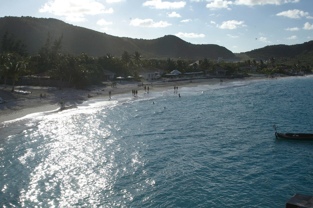 The beach at St. Jean seems smaller every time we go to St. Barth. This photo was taken from the Eden Rock Hotel looking toward the airport.