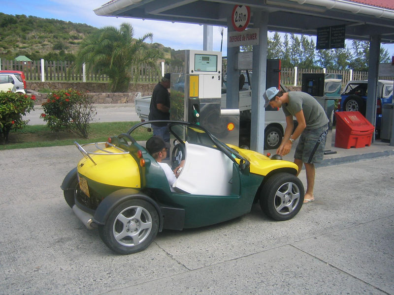 A very sporty Smart Car at the St. Jean filling station.