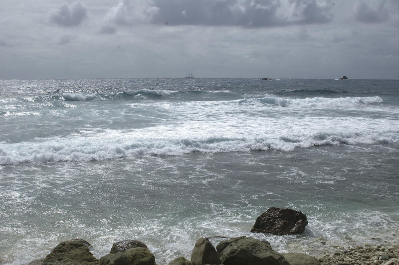 A view from Anse de Grand Fond on a gray day.