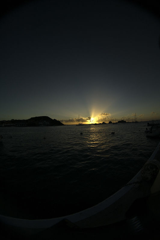 Sunset from the wharf in Gustavia through at 8mm lens (on a digital camera with a 1.25 magnification factor).
