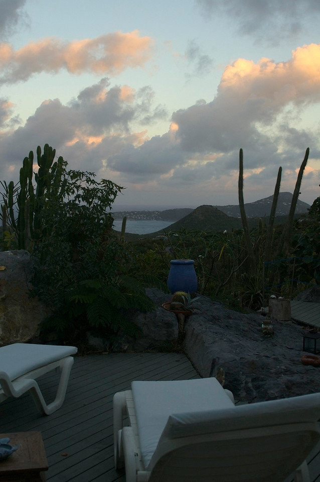 Looking out the back living room door toward Anse des Flamandes while at the Ker Roch Glaz villa.