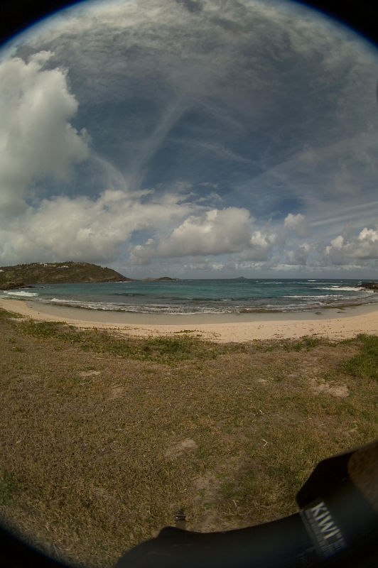 "This photo is of the beach at Marechal, taken with a Peleng 8mm lens on a Nikon D70 (giving an effective focal length of  12mm). It's part of a panorama shown at <a href=""http://civilizedexplorer.phanfare.com/album/38770"">St. Barth videos 2006</a>."