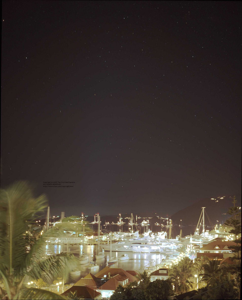 Night in Gustavia; look at the stars in the larger version.