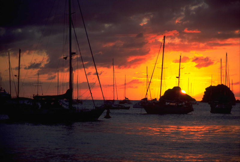 Sunset from the harbor in Gustavia