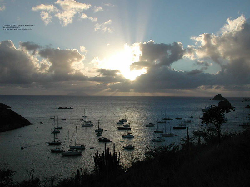 Looking west from the harbor at Gustavia