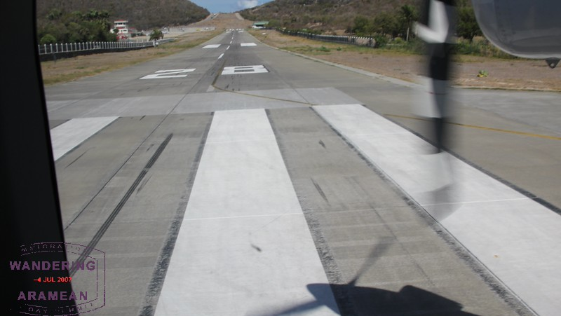 Looking back up the runway after landing. That hill is no joke!