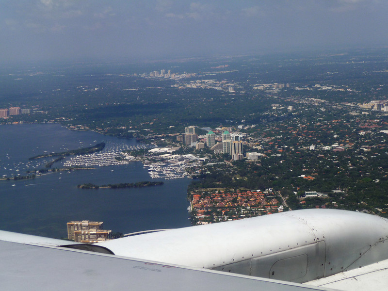 Flying into Miami, on the way towards the Virgin Islands.