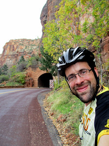 Selfie at the Zion-Mt. Carmel tunnel. Bikes can't go through the tunnel and there's no regular shuttle service.