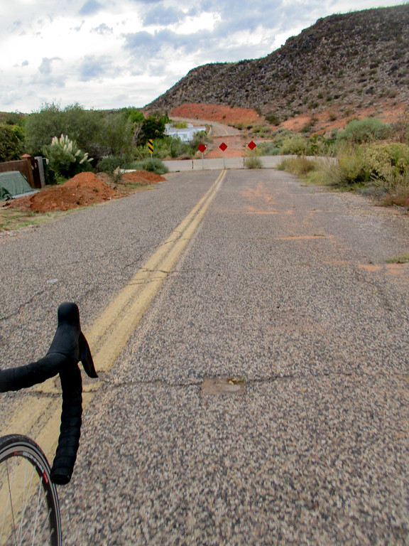 Road out in St. George. No problem on a bike! Unfortunately it's impassable at the other end, so I had to turn around.
