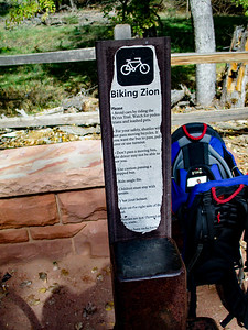 Worn sign, but it lists the rules of riding in the park. Pretty legit.