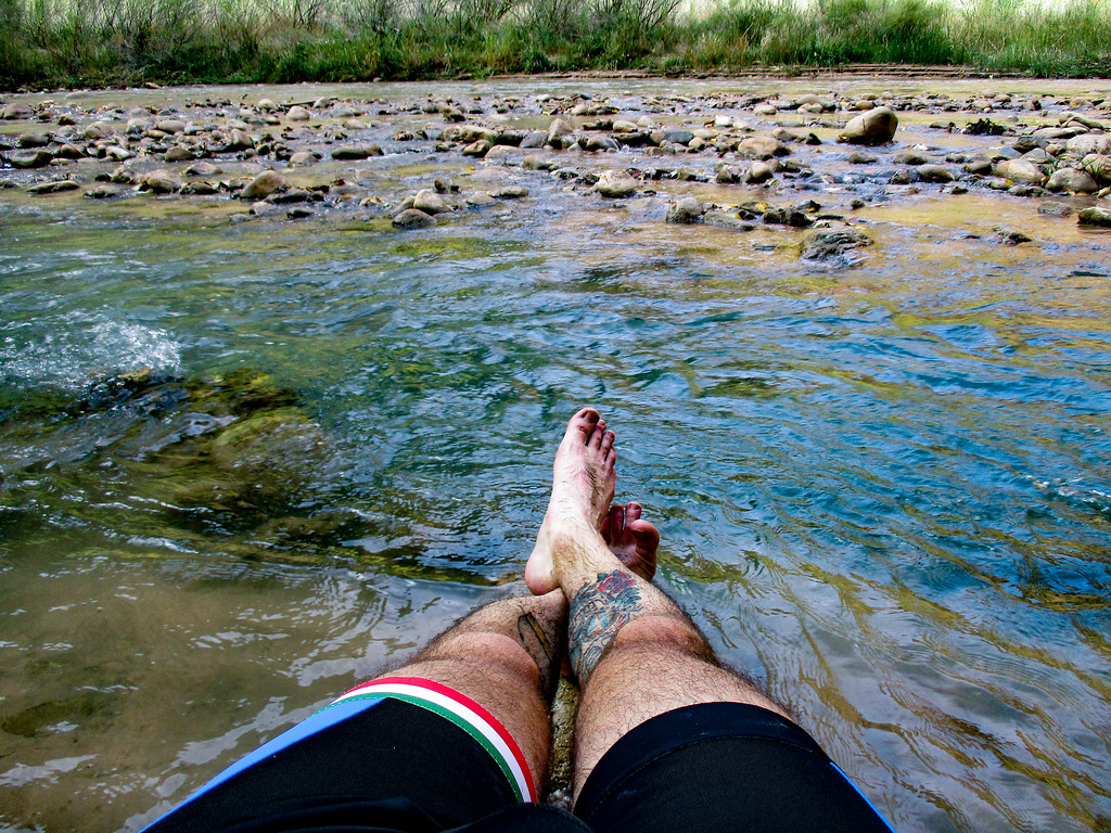 Sticking my feet in the North Fork of the Virgin River.