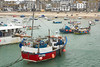 Boats moored in St Ives harbour