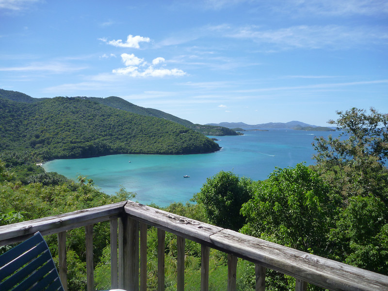 View from Harmony Unit 4A. Big Maho Bay on one side, and Little Maho Bay on the other. Our view was fabulous from the top of the hill.... Some 16 floors up from the sea!!!