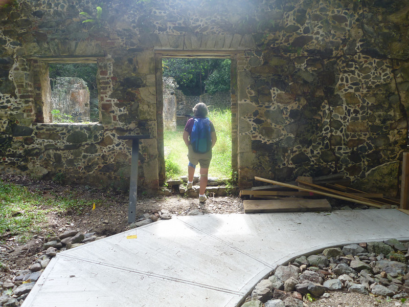 Pat exploring Cinnamon Bay sugar mill ruins