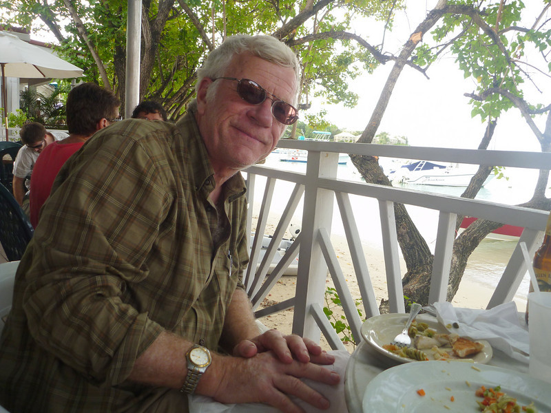 Rich at Cruz Bay seaside restaurant near ferry terminal for St. Thomas.
