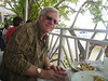 Rich at Cruz Bay seaside restaurant near ferry terminal for St. Thomas.