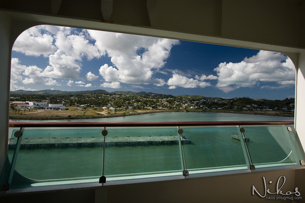 View from my balcony as the ship enters Saint Johns